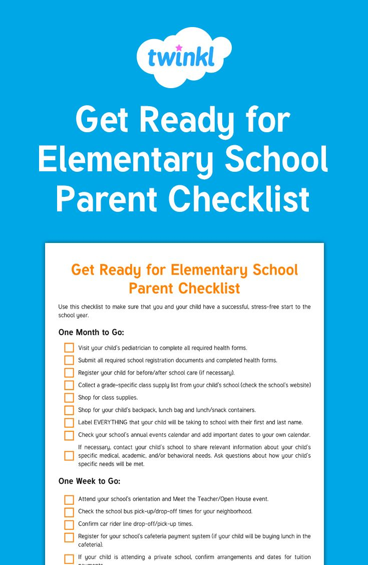 Get Ready for Elementary School Parent Checklist - Use this awesome ...