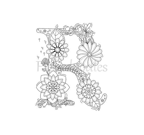 adult coloring page - floral letters, alphabet R, hand lettering ...