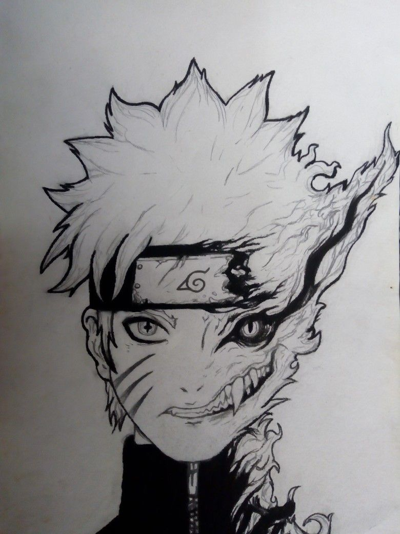 Foto Gambaran Naruto Pakai Pensil Black And White