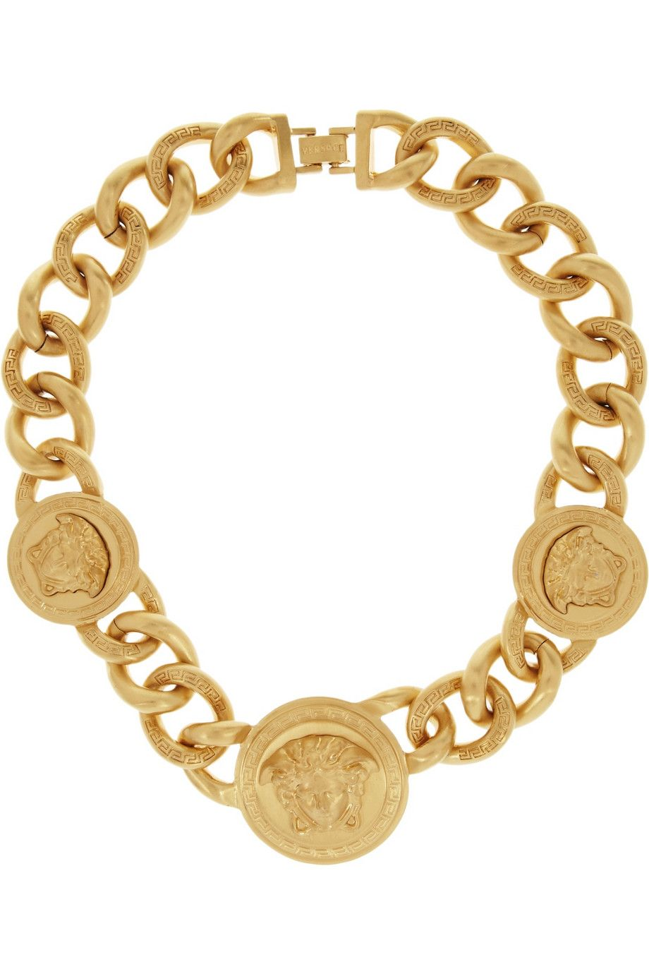 Versace goldplated necklace featuring medusa head coins