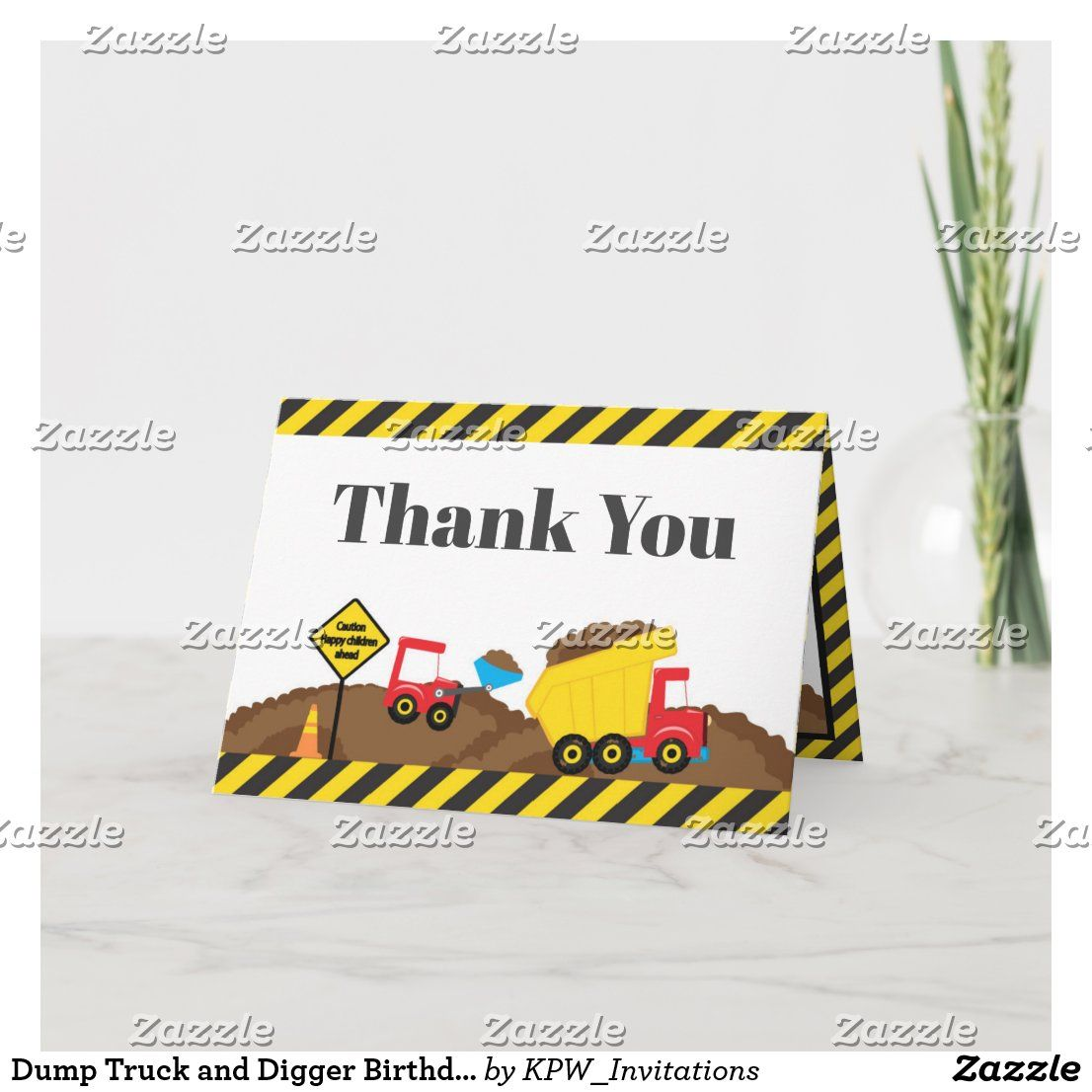 Dump Truck And Digger Birthday Thank You Zazzle Com Digger Birthday Birthday Thank You Cute Thank You Cards