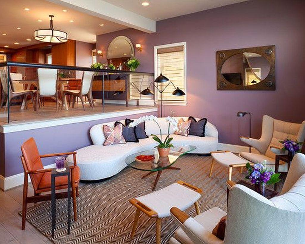 48 cozy interior room design ideas with purple walls