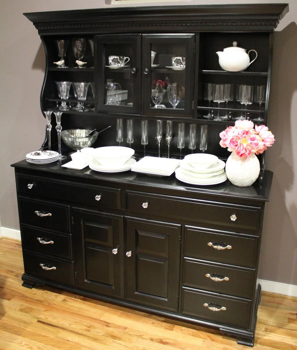 A Beautifully Repurposed Hutch With Glossy Black Paint And Crystal Hardware I Would Take This
