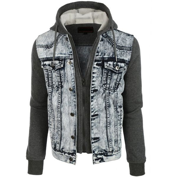 Le3no Mens Casual Long Sleeve Denim Jean Jacket With Hoodie Mens Fashion Jeans Hoodie Fashion Hooded Denim Jacket