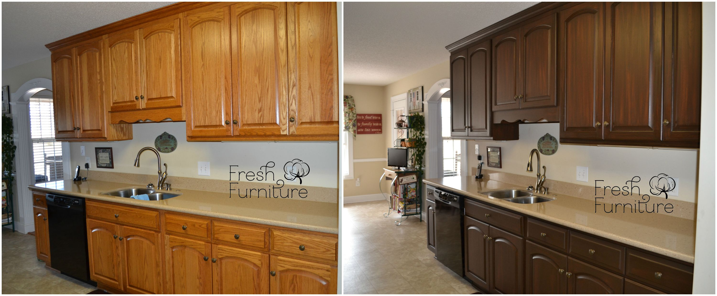 Oak Cabinet Makeover With General Finishes Antique Walnut Gel Stain This Is The Plan For Our