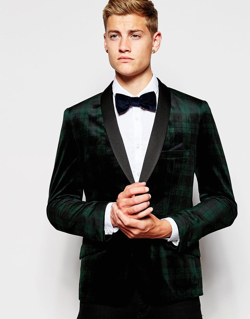 613e3ce93 French Connection Black Watch Check Velvet Jacket | Prom Tux ...