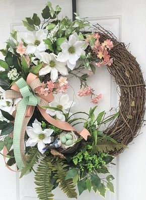 Spring Wreath Grapevine Magnolia Sy Doors Front Door
