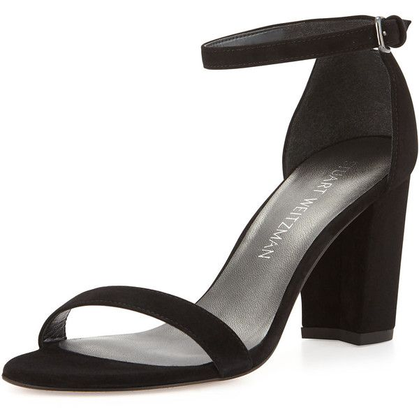 Stuart Weitzman Nearlynude Suede City Sandal (3.550 NOK) ❤ liked on Polyvore featuring shoes, sandals, black, suede sandals, ankle strap sandals, suede shoes, block heel sandals and stuart weitzman sandals