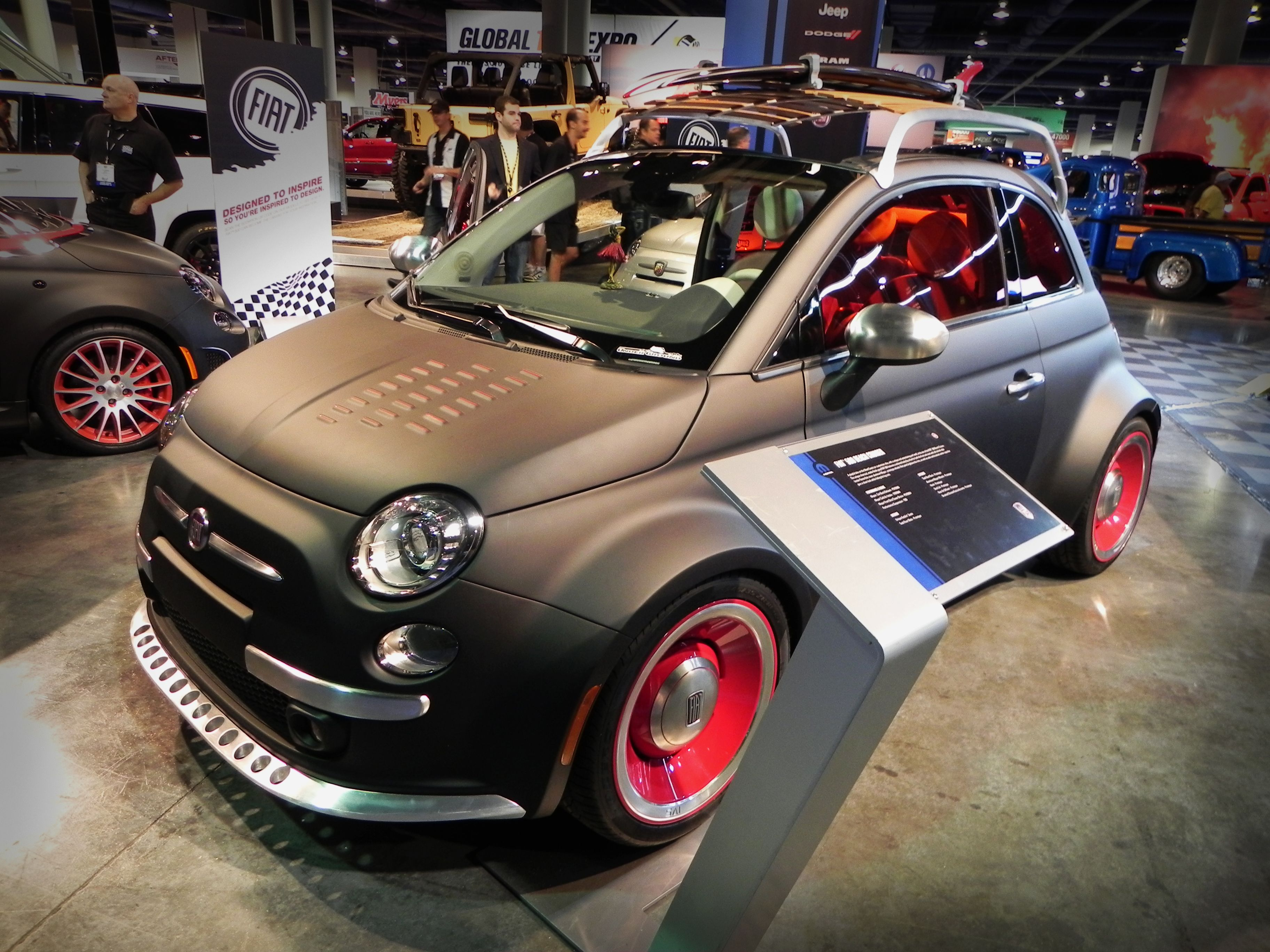 Nice paintjob on a little #Fiat, includes roof rack for ...