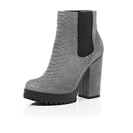 Grey leather snake print ankle boots £55 #riverisland #bloggerstyle