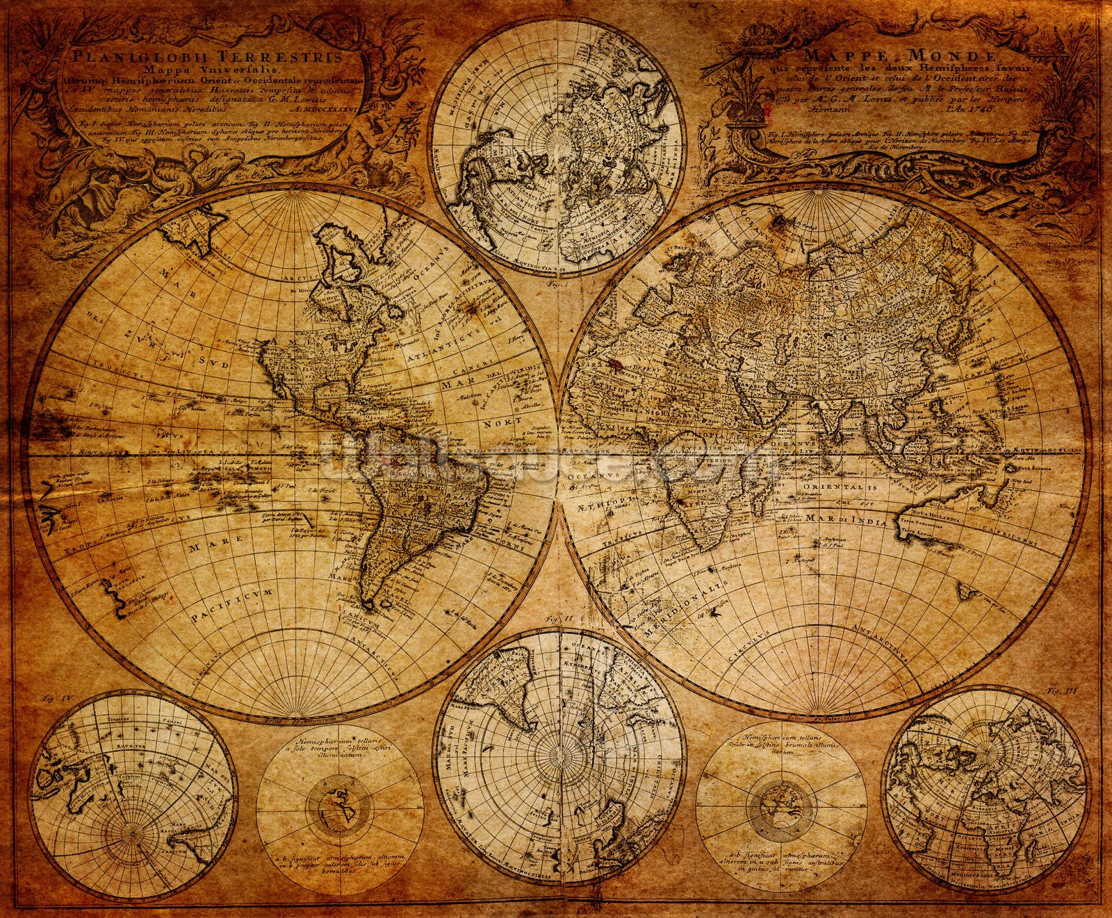 Old globe map 1746 wall mural globe wallpaper and ceiling tiles old globe map 1746 mural wallpaper publicscrutiny Images