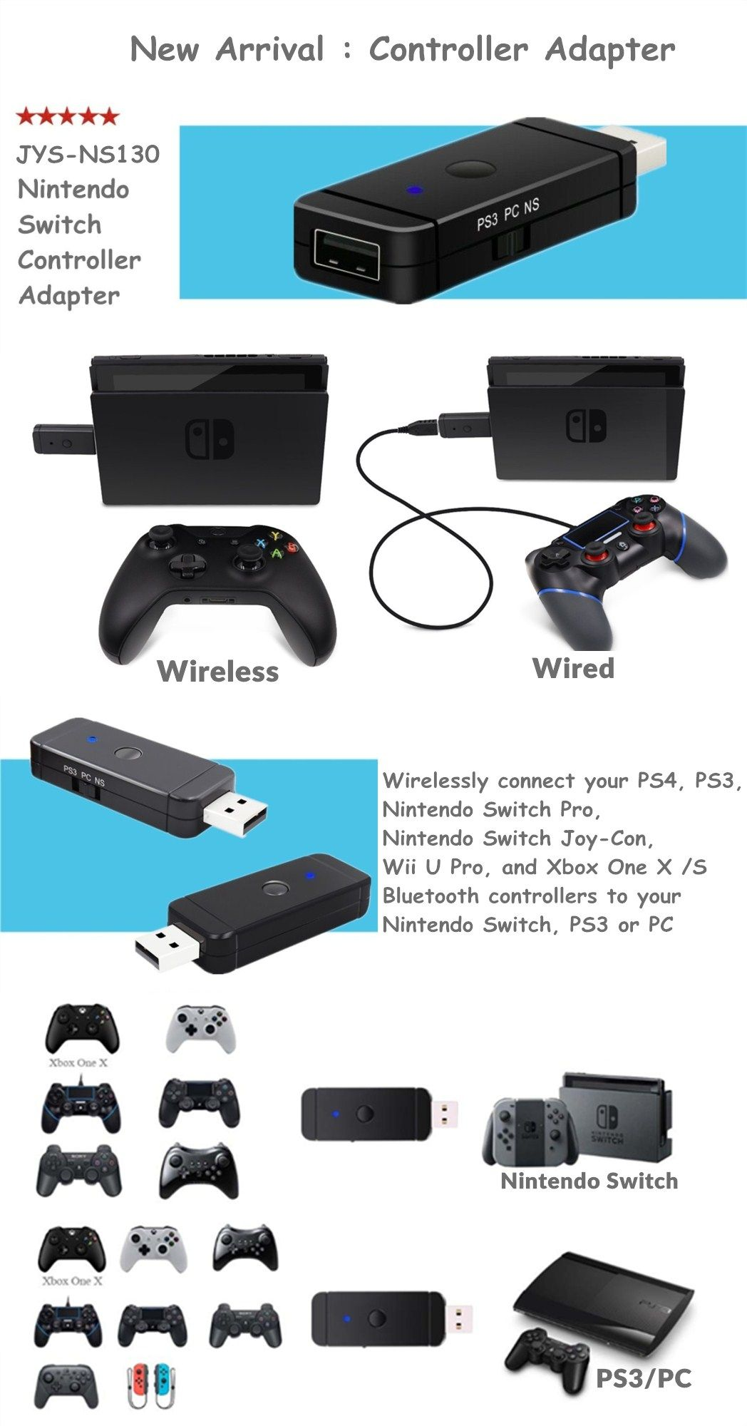 universal wireless and wired controller adapter help players to use ps3 ps4 xbox 360 xbox one wii u controllers on nintendo switch ps3 and pc  [ 1048 x 2000 Pixel ]