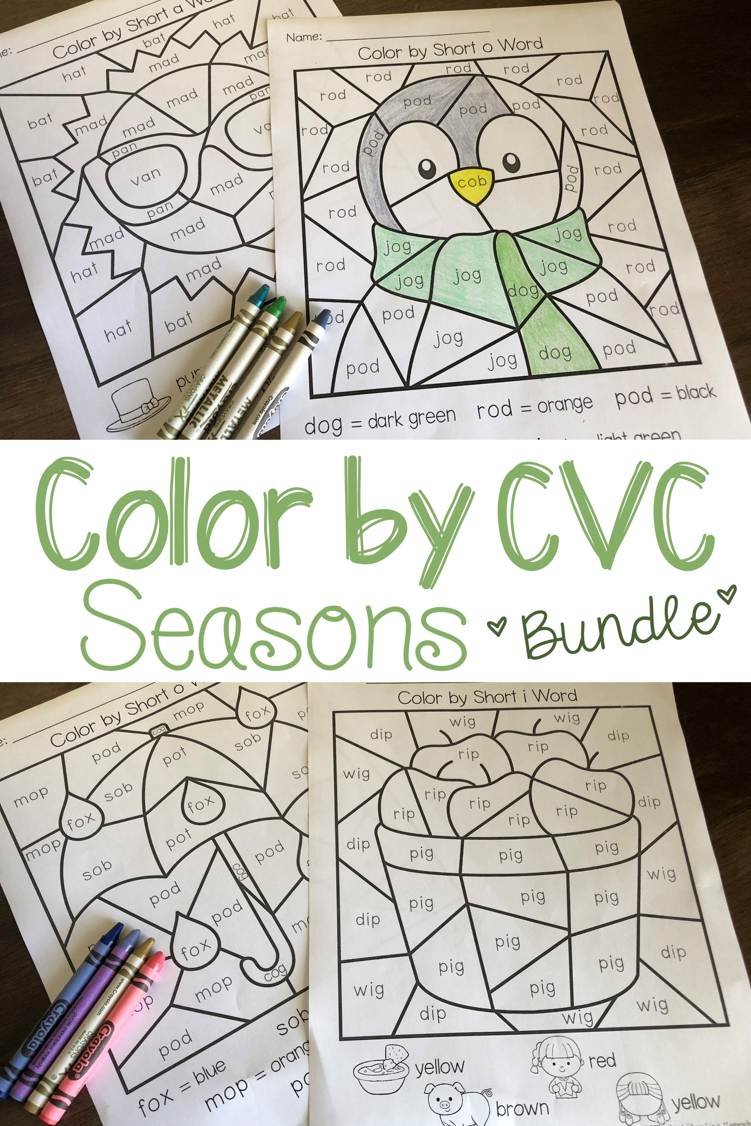 Seasons Color By Cvc Word Bundle