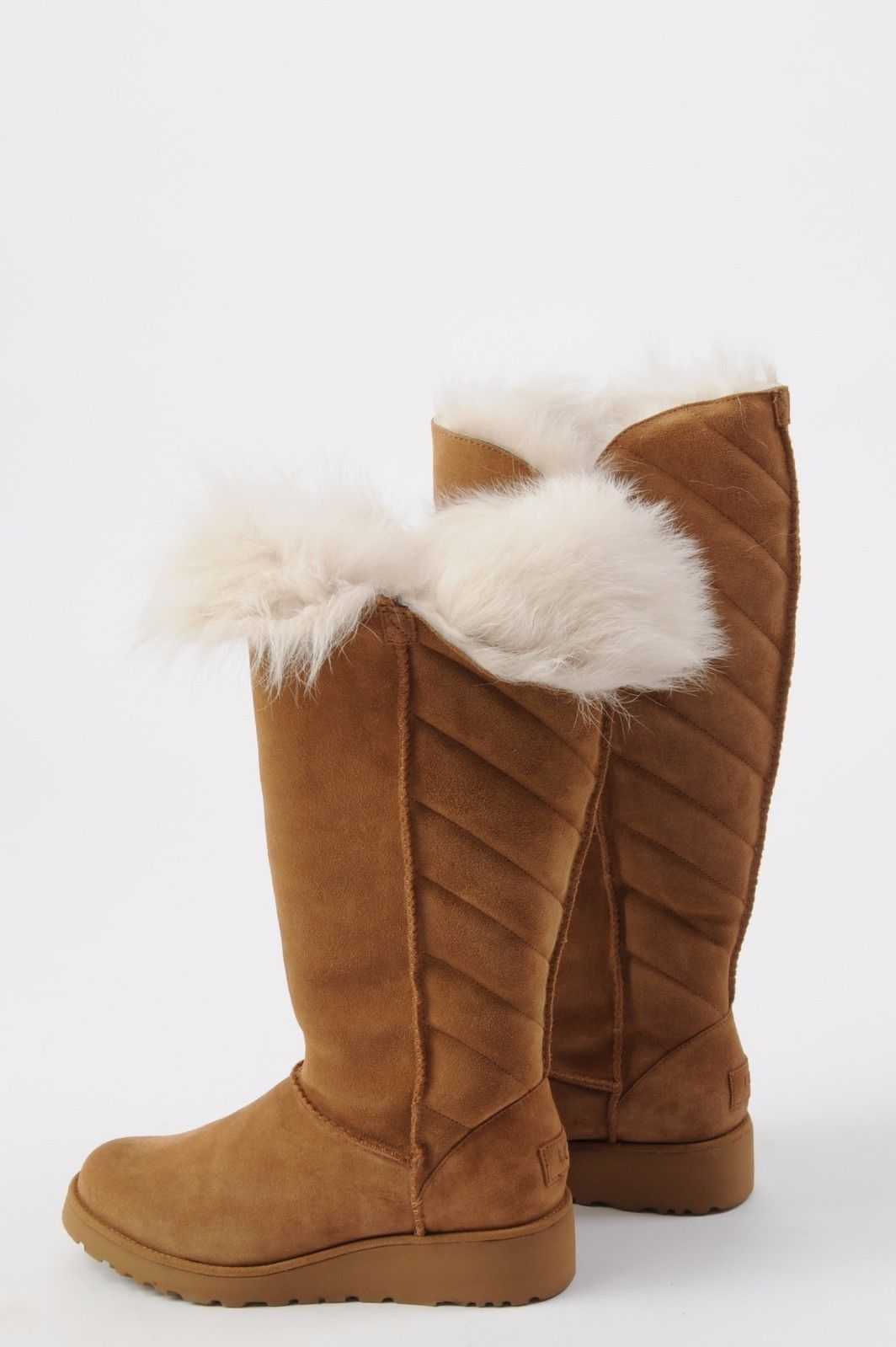 070b168bc73 NEW Women's Ugg Rosalind Tall Boots Cuff Size 7 Chestnut Uggs Suede ...