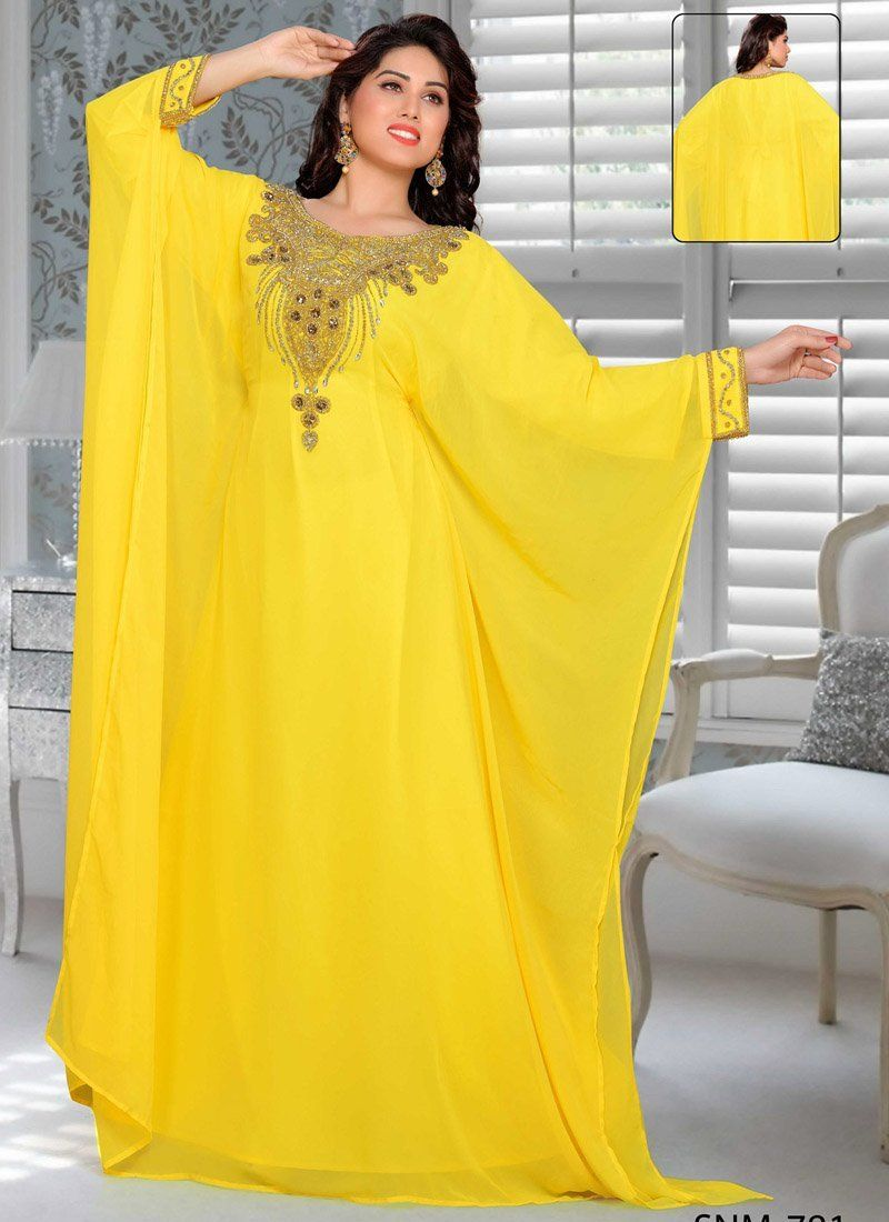 ca95a601a5 Aniiq Creations Yellow Color Farasha Kaftan With Full Sleeve Farasha,  Georgette, Yellow, Hand, Golden – Arabic attire #arabic #elegant #dresses  #handbeaded ...