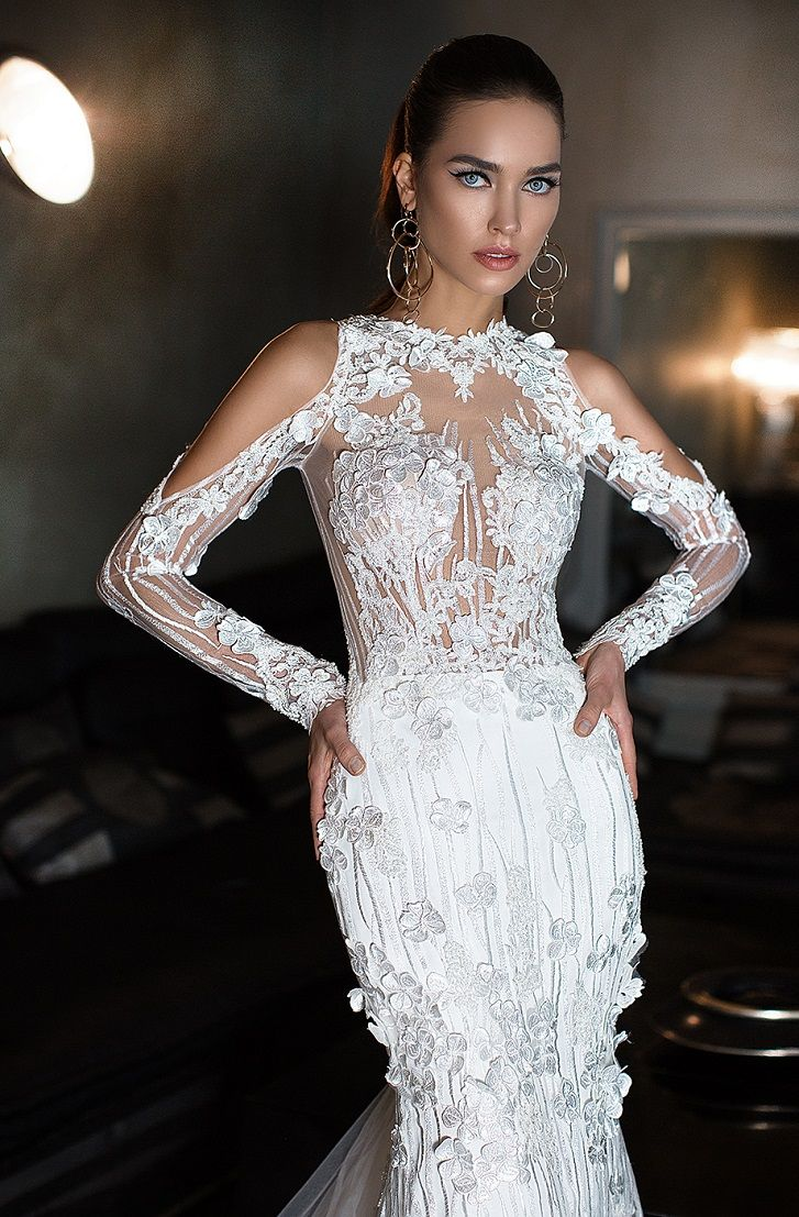 Fully embellishment tulle cape with sleeves fit and flare wedding dress #wedding #weddings #weddinggown #bridedress