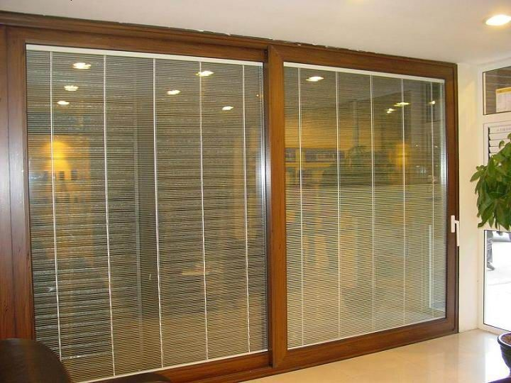 Sliding glass doors with built in blinds aluminum for Built in sliding doors