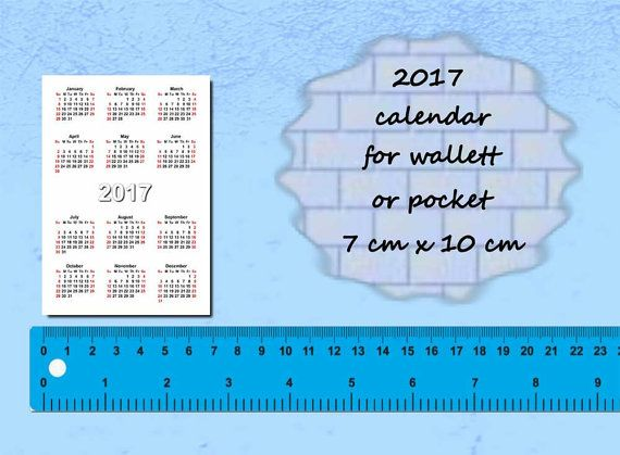 2017 Calendars Printable Mini Wallet Pocket Card Size Pdf File