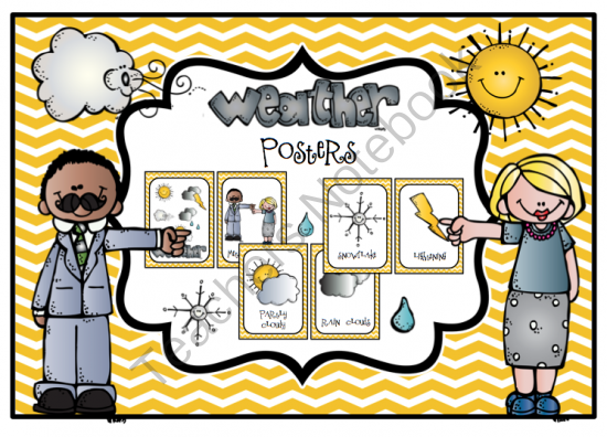 Weather Posters from Preschool Printables on TeachersNotebook.com -  (8 pages)  - 12 posters for your bulletin board