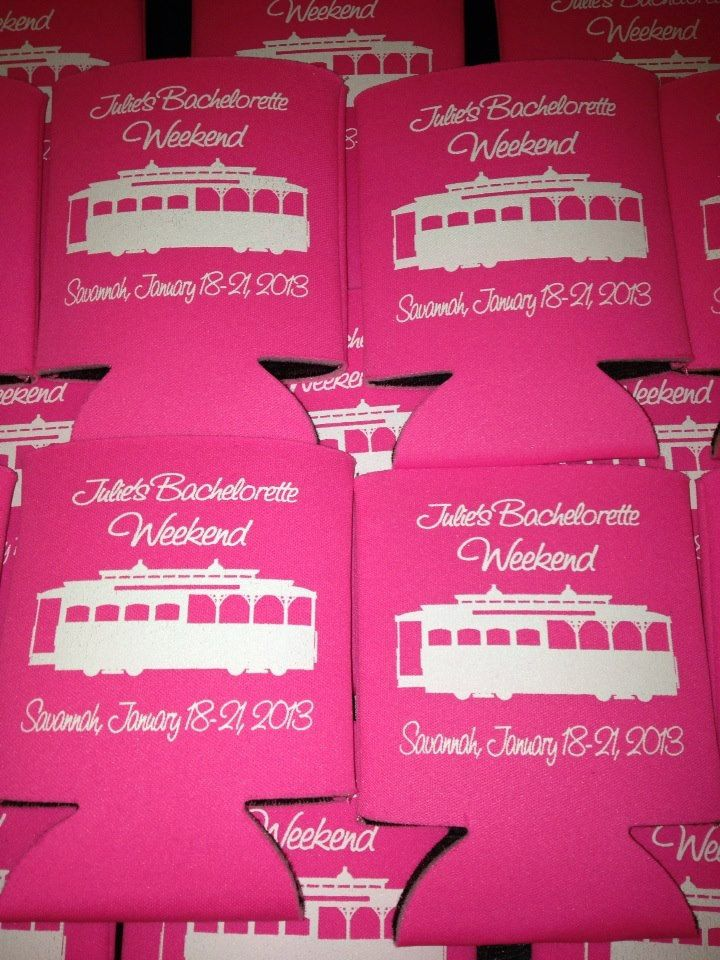 Lot 12 personalized bachelorette party koozies custom can party favor - Stock Art Available. $29.99, via Etsy.
