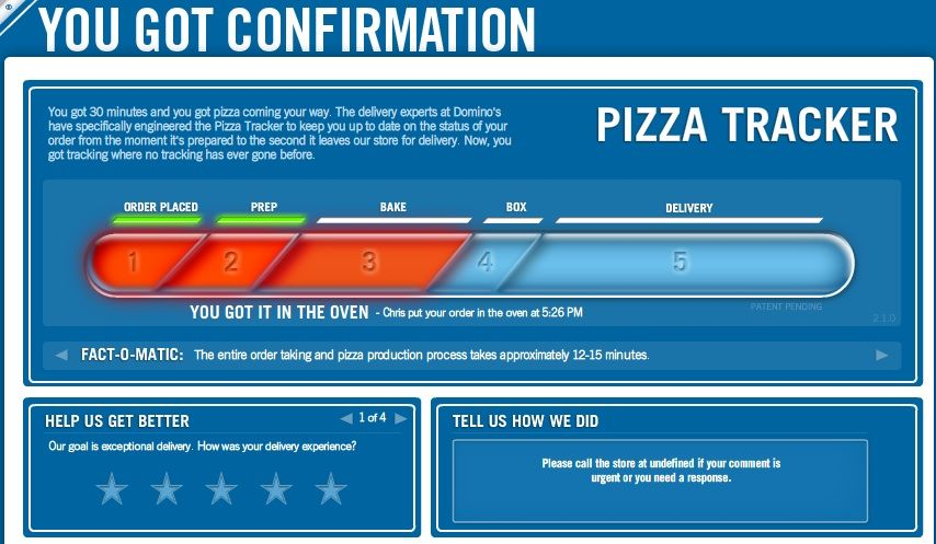 Dominos Pizza Tracker Is The Best Thing Ever. - News - Bubblews