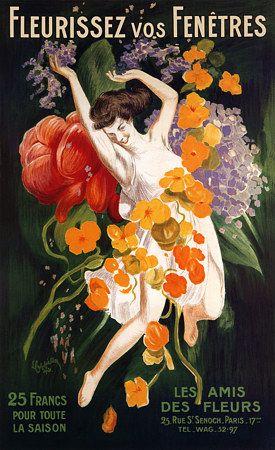 Vintage Flowers Florist Advertising Cappiello Posters Art Prints