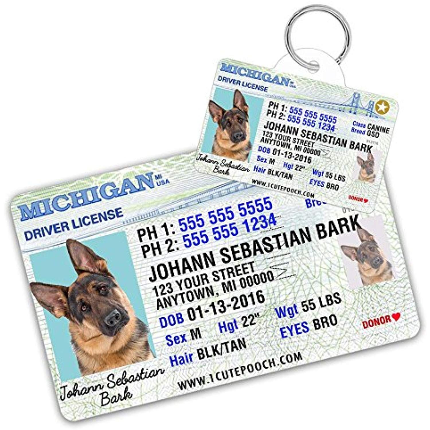 Michigan Driver License Custom Dog Tag For Pets And Wallet Card