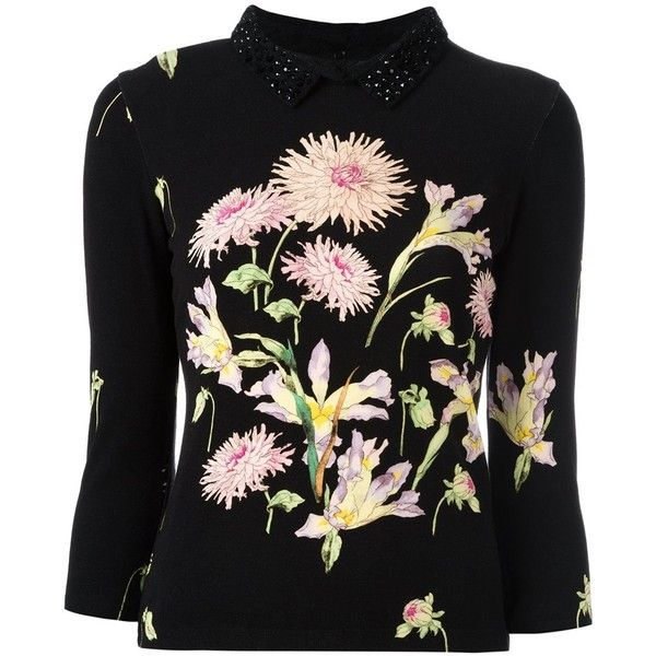 Blumarine floral print jumper (€1.065) ❤ liked on Polyvore featuring tops, sweaters, black, flower print sweater, floral print sweater, floral jumper, blumarine and flower print tops