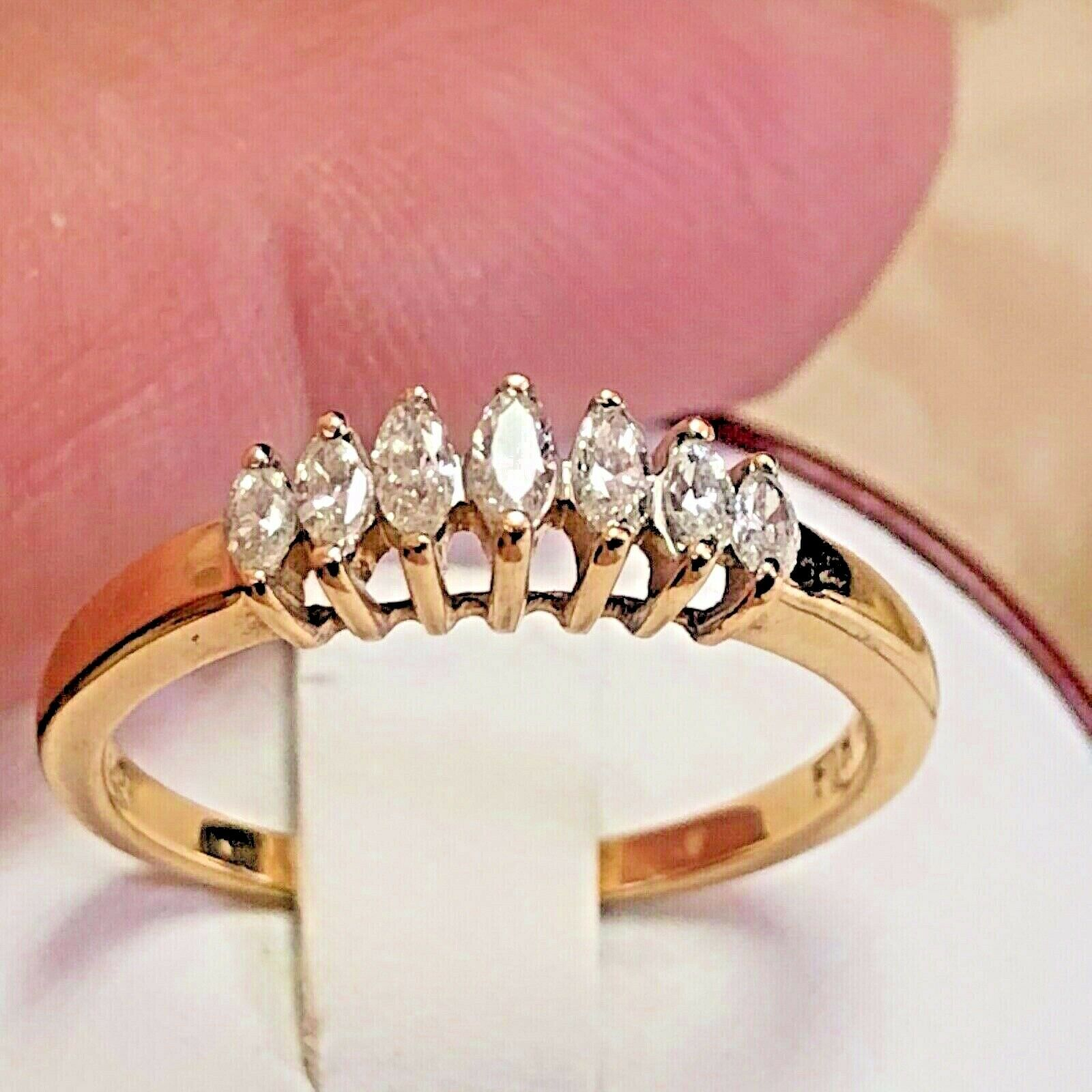 14k Gold 1 3 Carat Diamond Ring Marquise Size 7 Band 14kt Fth Raw Stone Jewelry Black Diamond Ring 3 Carat Diamond Ring