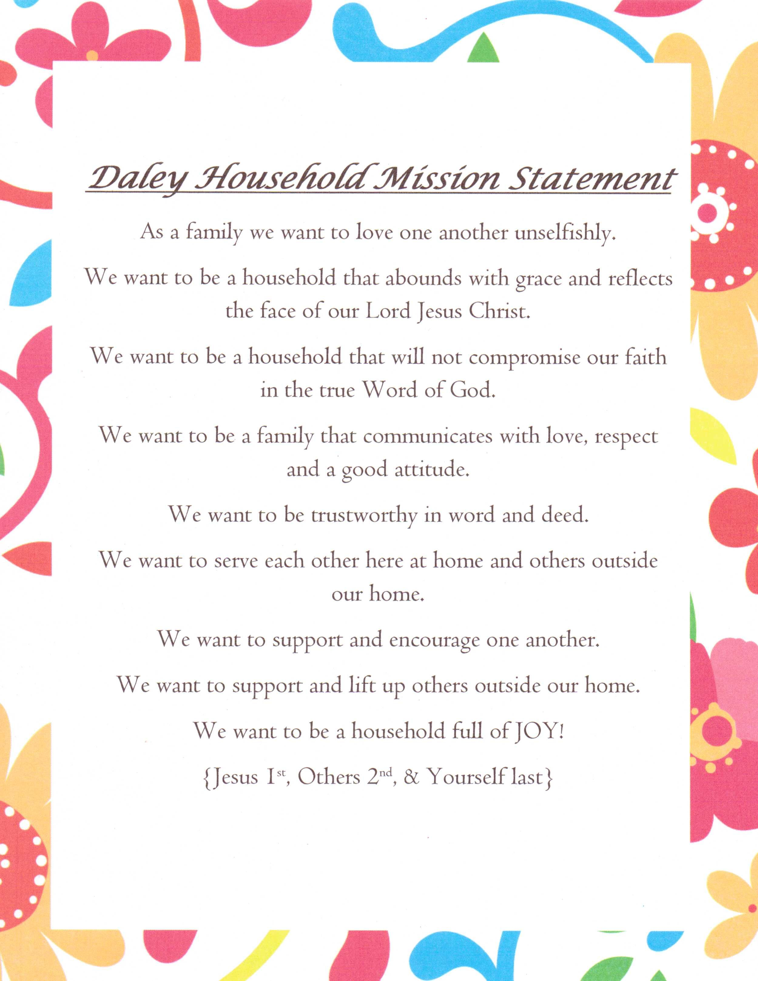 Personal commitment statement examples quotes - Our Family Mission Statement