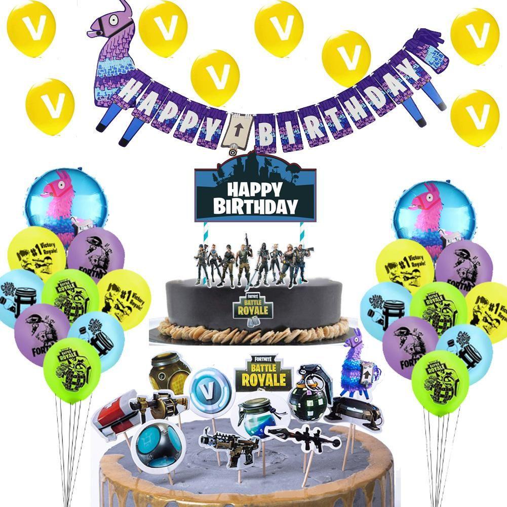 Fortnite Llama Geburtstagsdeko Party Deko Set Ballons Topper