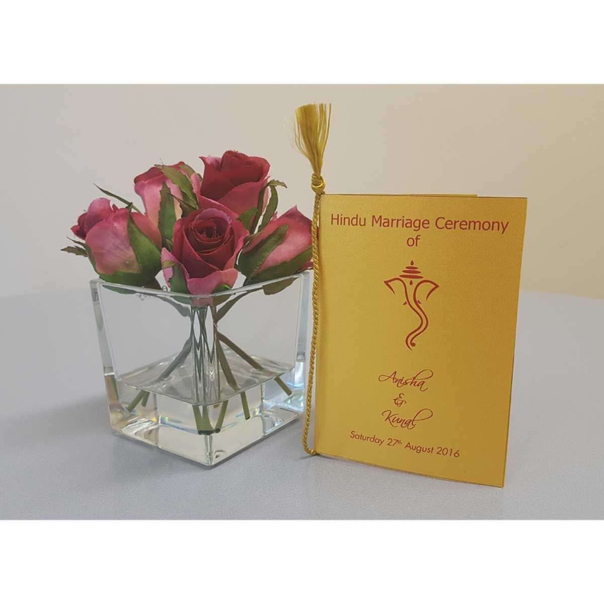 Kankotri - Wedding Invitation Cards Leicester | Wedding Ceremony Program Booklet : Hindu Ceremony Programme Booklet 1  Get in touch to discuss your requirements: Email: enquiries@kankotri.co.uk Phone: 0116 373 7279