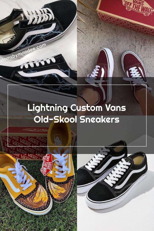 barco éxito Indica  Lightning Custom Vans Old-Skool Sneakers in 2020   Vans, Vans old skool  sneaker, Custom vans