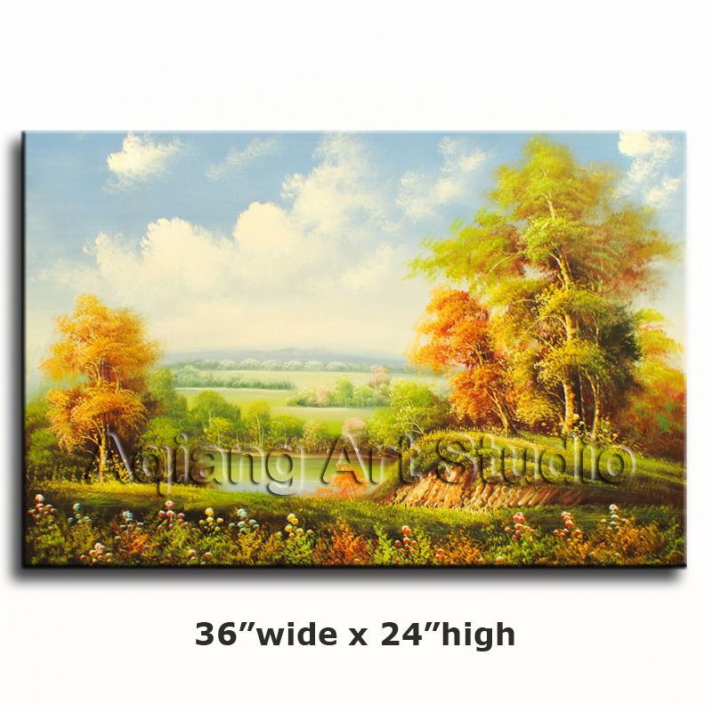 Italian Country Landscape Oak Tree Grove Lake Oil Painting 36x24 ...
