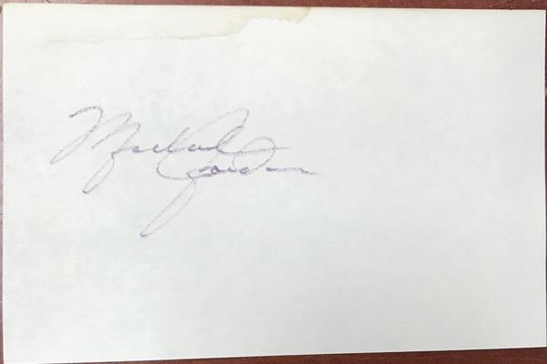 Michael Jordan Autographed 3x5 Index Card Chicago Bulls Signed In