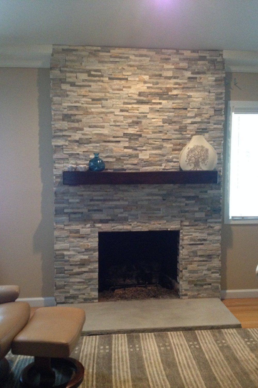 Dark Cherry Wood Beam Mantel In 2019 Brick Fireplace