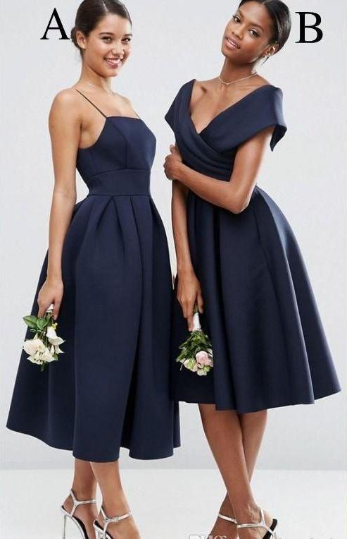 Navy Blue Cheap Mismatched Short Bridesmaid Dresses Under 100 Gdc1070 Navy Bridesmaid Dresses Tea Length Bridesmaid Dresses Blue Bridesmaid Dresses