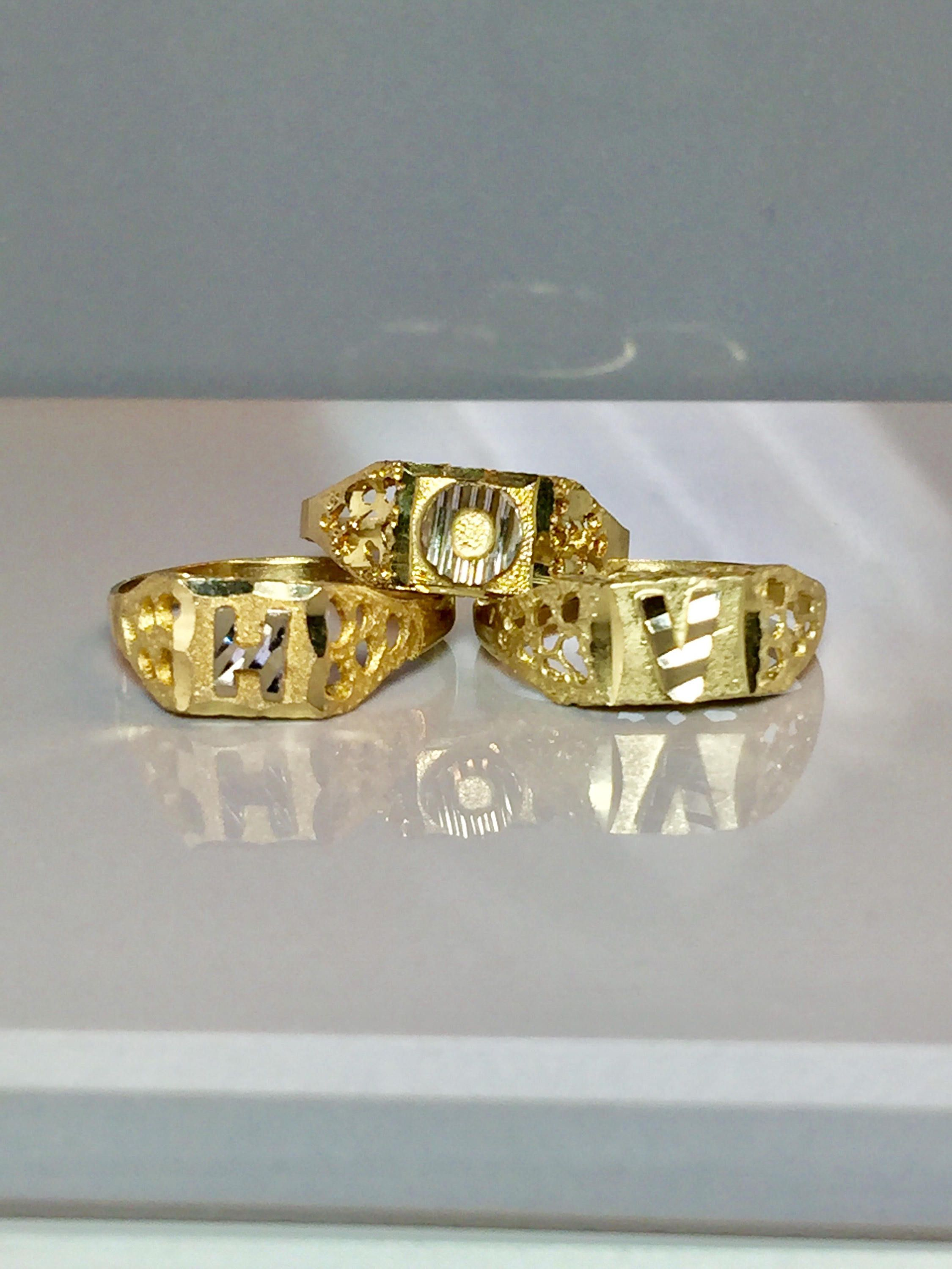 10k Solid Gold Initial Ring Block Letter Ring Pinky Ring Etsy Gold Initial Ring Initial Ring Monogram Ring