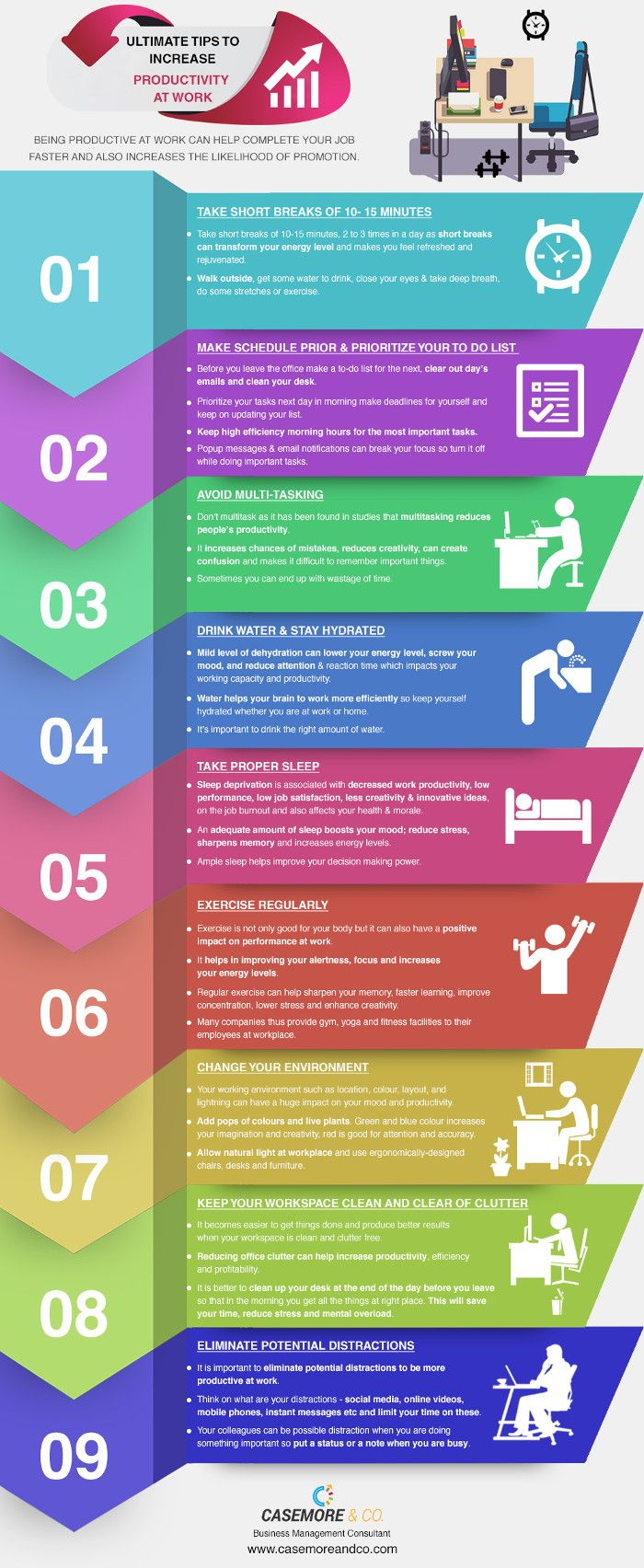 Infographic 9 Tips To Improve Workplace Productivity Hppy Workplace Productivity Management Infographic Increase Productivity