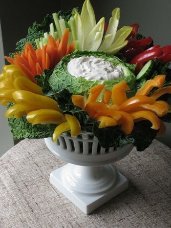 vegetable dip in cabbage - great display for a party