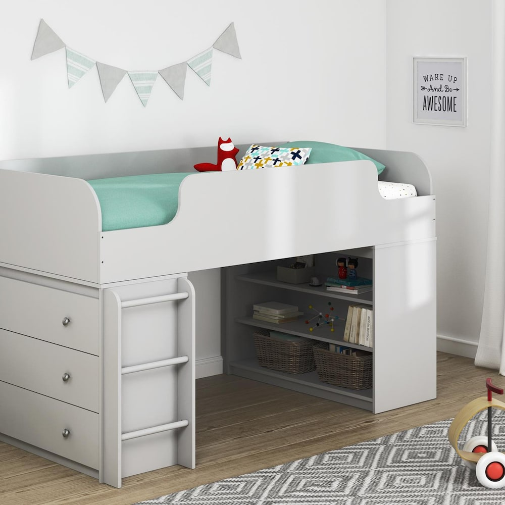 Ameriwood Elements Loft Bed w/ Bookcase Storage Low loft