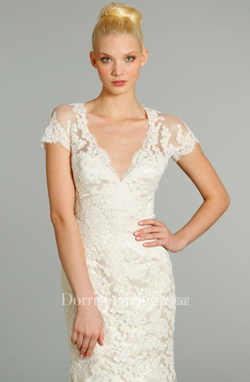 Captivating vneck lace over charmeuse dress with short sleeve and