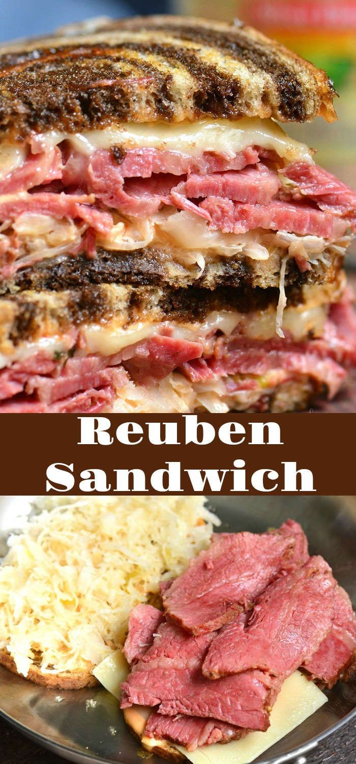 Reuben Sandwich recipe. Perfect combination of warm corned beef, melted Swiss cheese, sauerkraut, Thousand Island dressing, and crunchy rye bread. #cornedbeef #reuben #sandwich #grilledcheese #sandwichrecipes