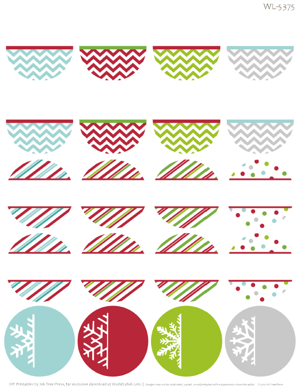 Free Printable Holiday Themed Round Address Labels With Chevron