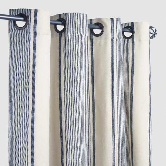 Blue Ticking Stripe Grommet Top Outdoor Curtains Set Of 2 World Market