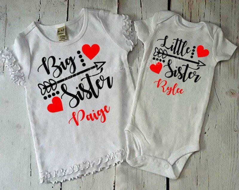 0590f8884dbc1 Big Sister Little Sister Announcement Shirt | Valentine's shirts ...