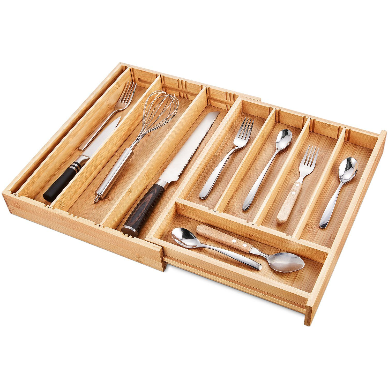 Deik Bamboo Drawer Organizer Expandable Cutlery Tray And Utensil