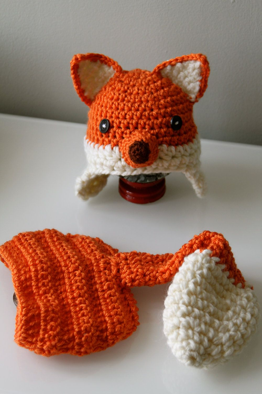 350f9763457 Crochet Baby Fox Hat with earflaps and Diaper by sebbysgrandma.  35.00 USD