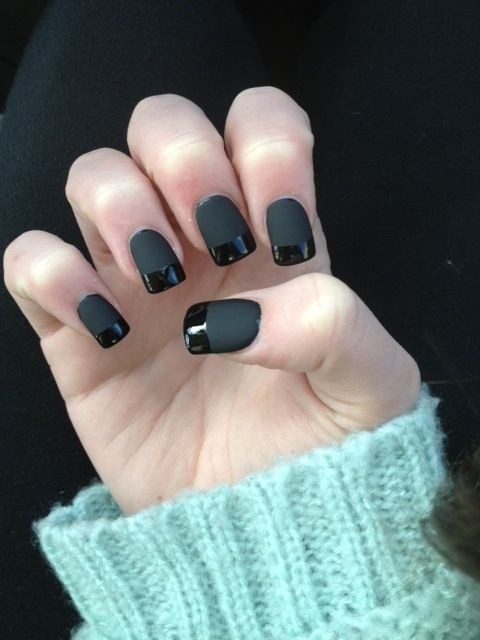 Cute matte black nail with a glossy tip. Love this nail polish look ...