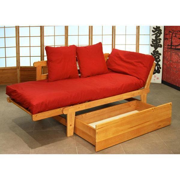 Se trata de un cómodo sofá cama de estructura de madera de hevea y ...
